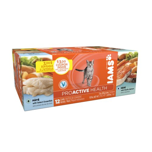 Iams Proactive Heath Adult Cat Pate, with select Oceanfish and Pacific Salmon Cat Food 3 Oz., 12 Can Variety Pack, My Pet Supplies