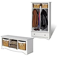 Prepac White Entryway Package Including Bench and Hall Tree