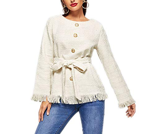 can't be satisfied White Multicolor Frayed Edge Belted Tweed Round Neck Single Breasted Coat Lady Women Coat Outerwear,White,M ()