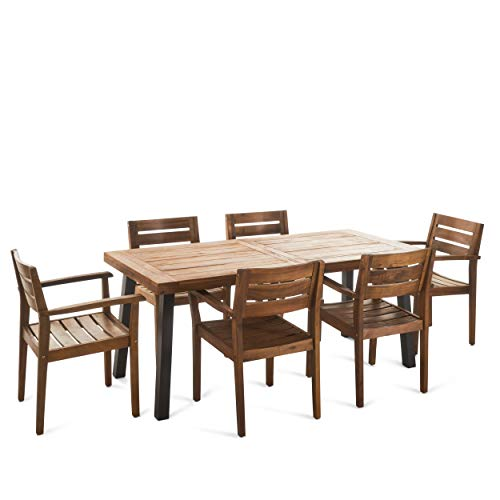 Christopher Knight Home 301108 Avalon 7 Piece Acacia Wood Dining Set Accents, Teak Finish with Rustic Metal