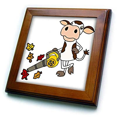 3dRose All Smiles Art - Funny - Cute Funny Unique Cow Using Leaf Blower Cartoon - Framed Tiles