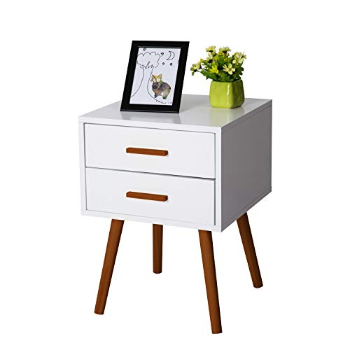 Kinbor Bedroom Furniture Night Stand Table with Double Drawers and Cabinet for Storage (White-2 Drawers)