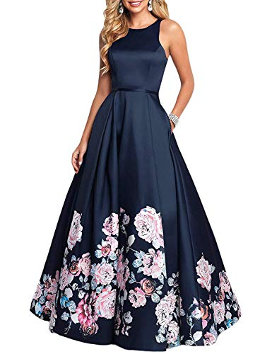 Aurora Bridal Womens Long Floral Print Prom Dresses with Pockets 2019 Formal Evening Party Gowns Size 16 Navy ()