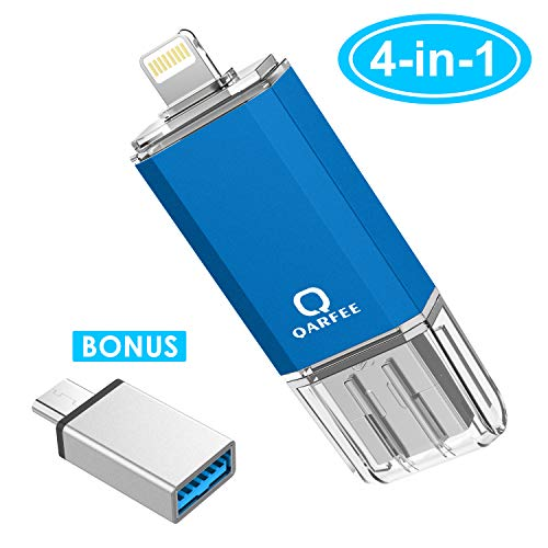 USB Flash Drive for iPhone Photo Stick 128GB Memory Stick iPhone Backup Flash Drive Photostick Mobile, Thumb Drive USB 3.0 Compatible iPhone/iPad/Android Backup OTG Smart Phone Qarfee Blue.