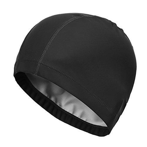 Morza Swim Cap Elastic Waterproof PU Protect Swimming Cap Hat Ears Long Hair Sports Swim Pool SPA Hat Swimming Cap for Men Women Adults