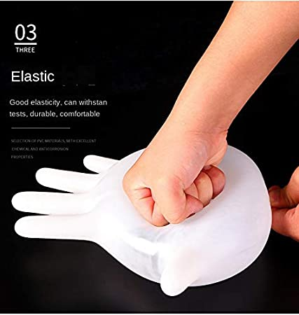 100 Disposable Gloves PVC Transparent//White Food-grade Thin Gloves Suitable For Labor Protection Cleaning