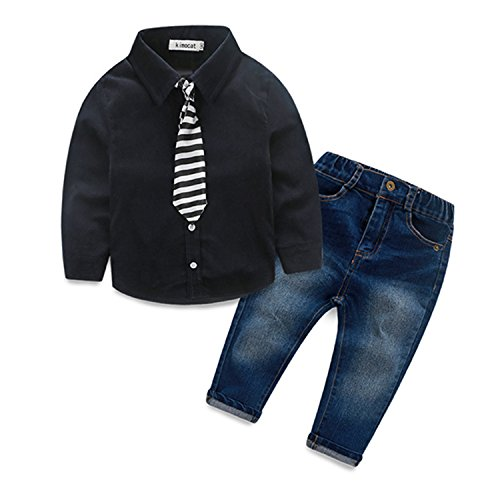 ODFAPP Adorable Autumn&Spring Boys Clothes Kids Denim Suit Cotton Long Sleeve Shirts+Trousers Jeans+Tie Overalls Casual Boy Clothing Sets CF396 Black4T Cool