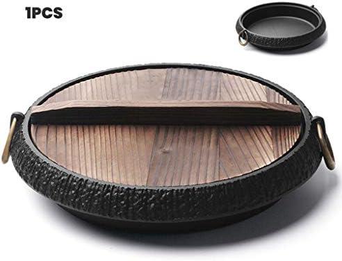 WLNKJ Poêle en Fonte, Poêle Ronde Antiadhésive en Fonte Non Revêtue/Poêle Binaurale Résistante avec Couvercle - Batterie De Cuisine pour Intérieur Et Extérieur (10 Po-26 cm)