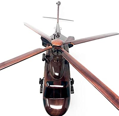 Blackhawk Replica Helicopter Model Hand Crafted with Real Mahogany Wood