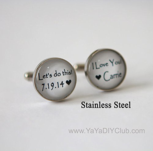 Amazon.com: Custom Weddign Cuff Links for Grooms Personalized ...