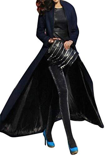 ARTFFEL Women's Plus Size Slim Fit Split Solid Color Wool Blend Long Trench Coat Pea Coat Overcoat Navy Blue -
