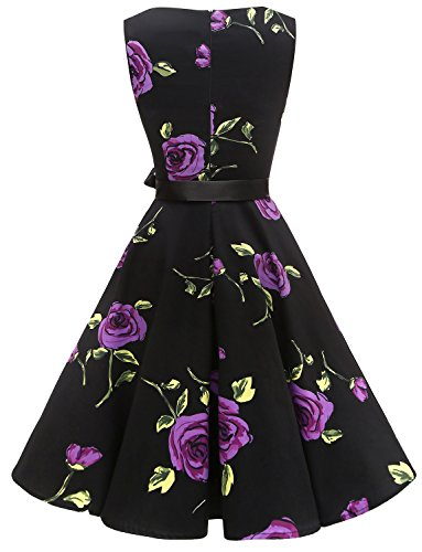 Gardenwed Rose Swing Women's 1950s Cocktail Belt Purple Retro with Rockabilly Dresses Vintage 7wR7Orq