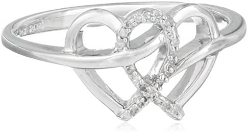 Sterling Silver Diamond Heart Ring (0.05 cttw, I-J Color, I2-I3 Clarity)