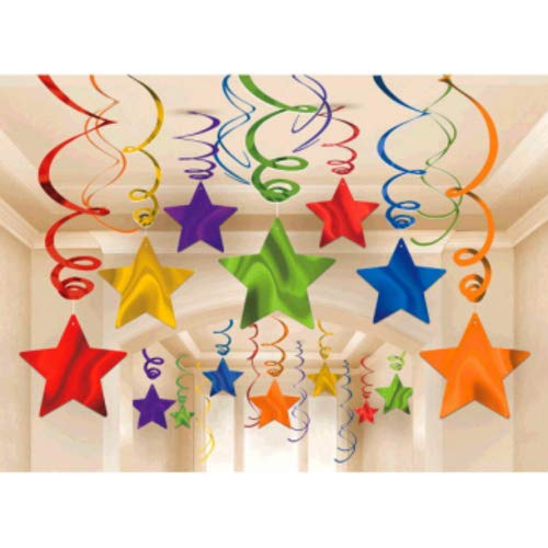 amscan Party Hanging Swirls Shooting Stars Supplies, Rainbow (Primary Color Party Decorations)