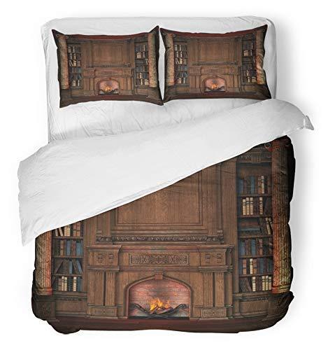 3ピース布団カバーセット 起毛マイクロファイバー生地暖炉専用図書館インテリア古い邸宅アンティーク本家具居心地の良い寝具2枕カバーフル/クイーンサイズ B07RKLNJHX A04 Queen 190 X 210 cm