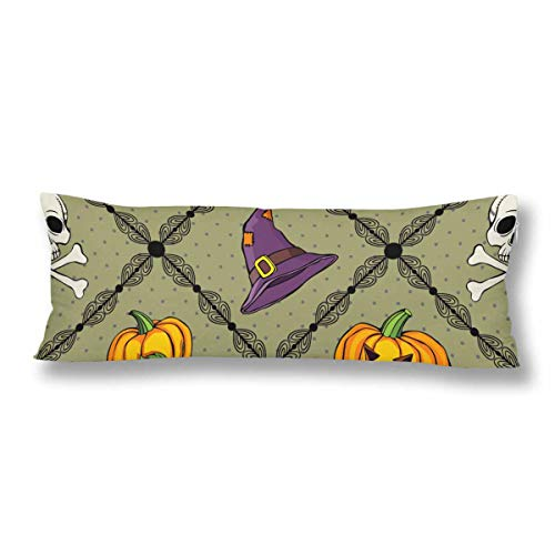 (InterestPrint Seamless Pattern Witch Hat Pumpkin Ghost Body Pillow Covers Case Protector Rectangle with Zipper 21x60 Twin Sides for Sofa Decorative)