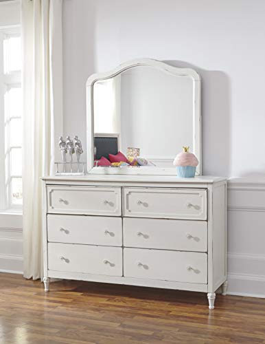 FurnitureMaxx Haslev Chipped White Wood Twin Bed, Dresser, Mirror, Nightstand and Chest