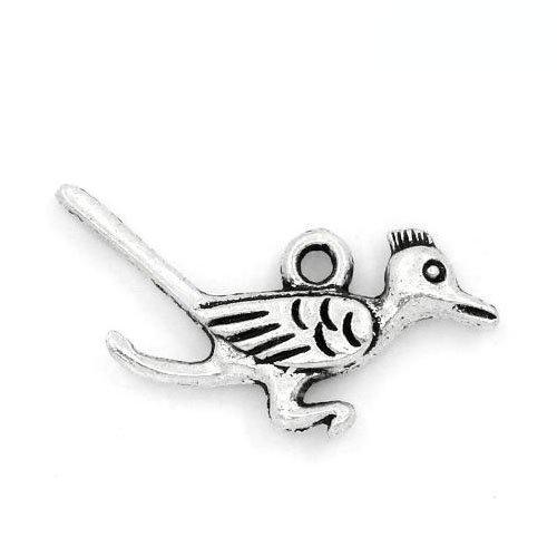 Paquet 5 x Argent Antique Tibétain 28mm Breloques Pendentif (Oiseau) - (ZX10225) - Charming Beads