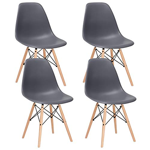 Nicemoods Mid Century Modern Style Dining Chairs,Pre Assembled Indoor Chair Armless Classic Eames Plastic Chair Wooden Legs Set of 4 for Kitchen, Dining Room, Bedroom, Living Room Side Chairs (Grey)