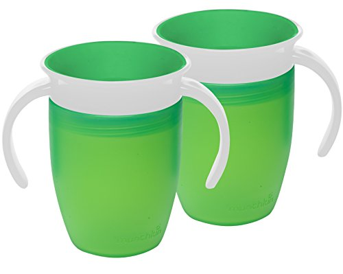 Munchkin Miracle 360 Trainer Cup, Green, 7 Ounce, 2 Count