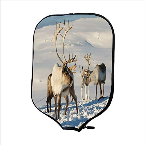 (iPrint Neoprene Pickleball Paddle Racket Cover Case,Winter,Reindeers in Natural Environment Tromso Northern Norway Caribou Antler Wildlife Decorative,Fit for Most Rackets - Protect Your Paddle)