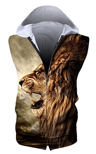 (HOP FASHION Unisex Sleeveless Workout Lion Print Hoodie Tank Tops Zipper Up Vest Tees with Front Pockets HOPM115-05-M)