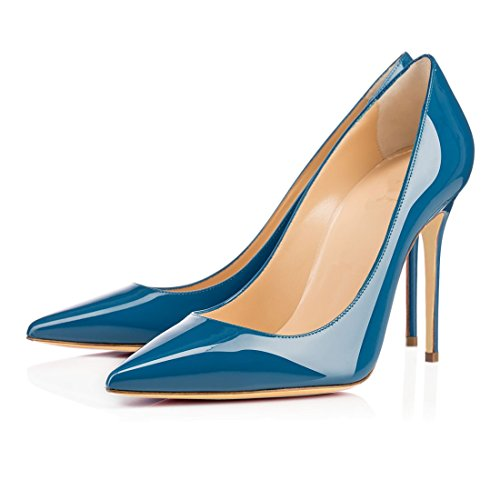 Eldof Femmes Talons Hauts Pompes Bout Pointu Escarpins 10cm Robe De Mariée Pompes Chaussures Bureau Haut Talons Bleu