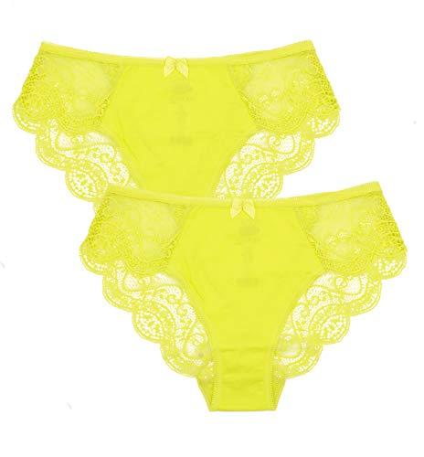 0201 Best Seller Women Lingerie Lace Soft Cotton Sexy Bikini Underwear Gifts For Women Undies Pantys BBW Briefs, USA7/EUR XL Yellow 2 Pack