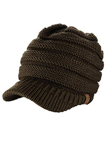 C.C Warm & Thick Cable Knitted Brim Visor Beanie Cap, Brown