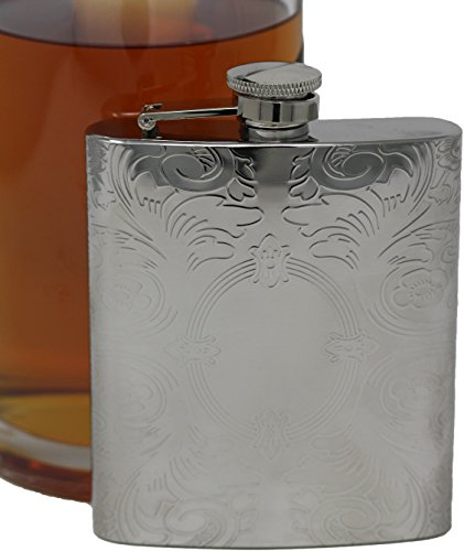 Premium 6 oz Victorian Scroll Pattern 304 (18/8) Food Grade Stainless Steel Hip Alcohol Liquor Flask - BPA free and Leak and Rust Proof - Discrete Drinking ()