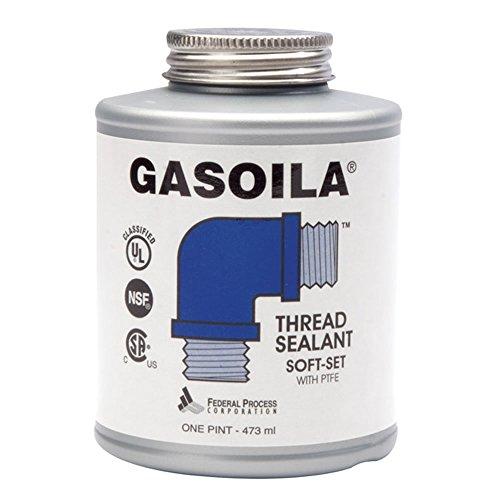 Price comparison product image Gasoila Soft-Set Pipe Thread Sealant with PTFE Paste,  Non Toxic,  -100 to 600 Degree F,  1 Pint Brush