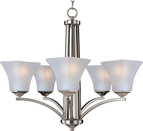 Maxim 20095FTSN Aurora 5-Light Chandelier, Satin Nickel Finish, Frosted Glass, MB Incandescent Incandescent Bulb , 60W Max., Dry Safety Rating, Standard Dimmable, Opal Glass Shade Material, Rated - Chandelier Square Maxim