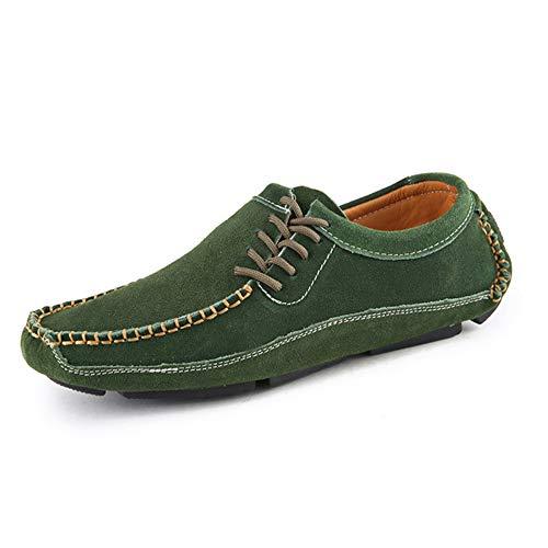 comode da Verde Guida Uomo per in Scarpe Scarpe 44 Pelle Stringate Barca Colore Dimensione Vera EU Antiscivolo da 8RSCqp
