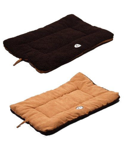 PET LIFE 'Eco-Paw' Reversible Eco-Friendly Recyclabled Polyfill Fashion Designer Pet Dog Bed Mat Lounge, Medium, Brown and ()