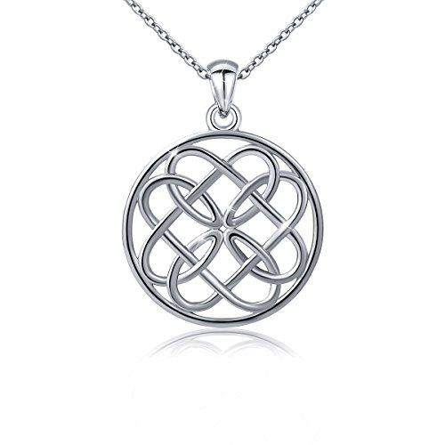 Light Love Knot - 925 Sterling Silver Irish Celtic Infinity Heart Love Knot Round Pendant Necklace for Women, 18