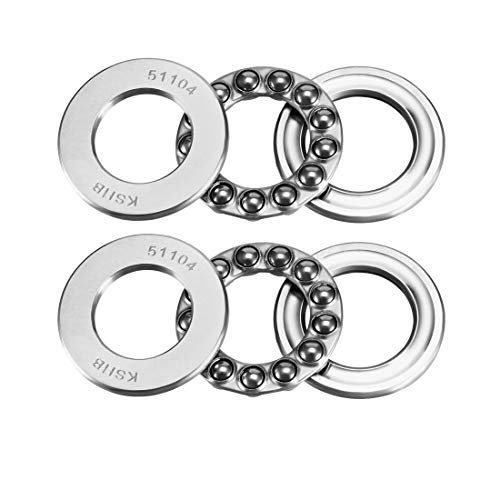 (uxcell 51104 Single Direction Thrust Ball Bearings 20mm x 35mm x 10mm Chrome Steel (Pack of 2))