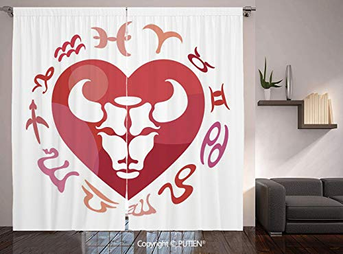Thermal Insulated Blackout Window Curtain [ Taurus,Zodiac Sign Bull Personality Western Astrology Human Character Mystic Print Decorative,Dark Coral White ] for Living Room Bedroom Dorm Room Classroom