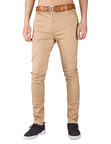 Italy Morn Men Chino Pants Khaki Slim Fit Stretch Cotton Twill Fabric Trousers (L, Khkai) (Cotton Twill Trouser)