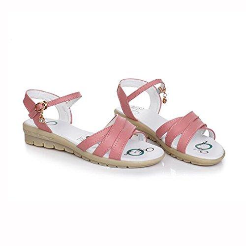Acogedor Azul Verano 5 Plano PU Sandalias Temporada Zapatos De Gris 5 Blanco Rosa tacón UK4 Pink Suave Fondo Tamaño TPR Mujeres YXINY Color CN37 EU37 de Blanco CnTxPwwq