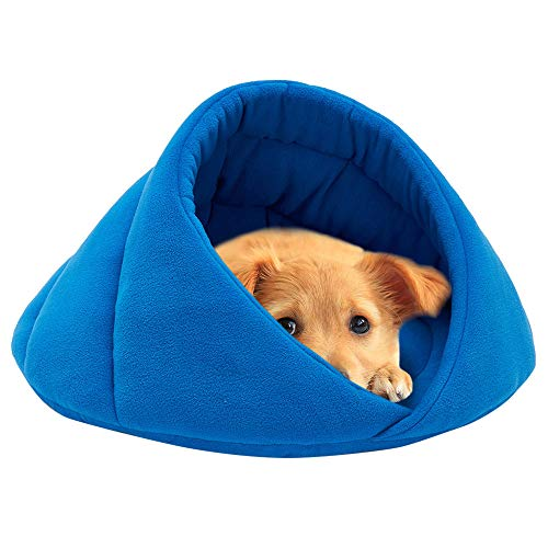 (YJYdada Pet Dog Bed, Soft Fleece Winter Warm Pet Dog Bed Small Dog Cat Sleeping Bag Puppy Cave Beds (XS, Blue))