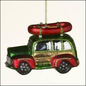 ornament woodie woody car with raft glass - Woodies Christmas Decorations