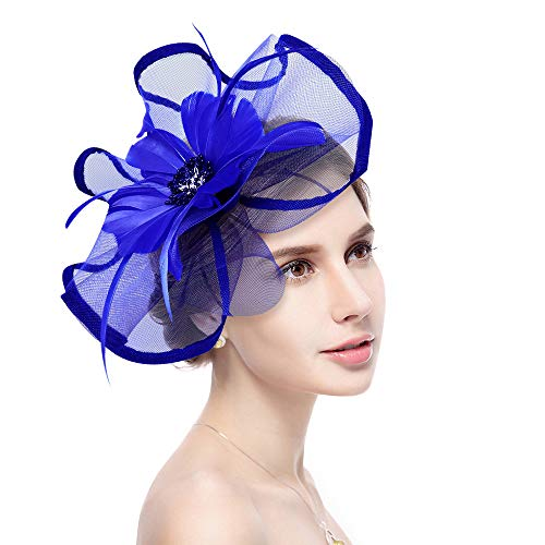 Jack & Rose Fascinator Hat Flower Feather Net Mesh Kentucky Derby Tea Party Headwear with Hair Clip and Hairband for Women or Girls (Royal Blue)