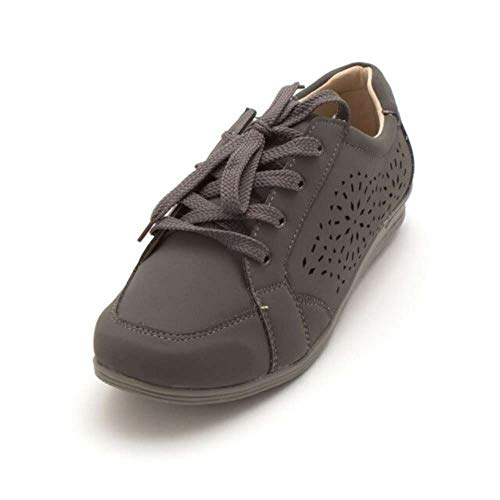 (Bees By Beacon Womens Erica Low Top Lace Up Fashion Sneakers, Grey, Size 7.0)