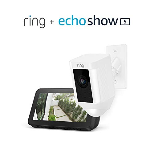 Ring Spotlight Cam Mount (White) with Echo Show 5 (Charcoal)
