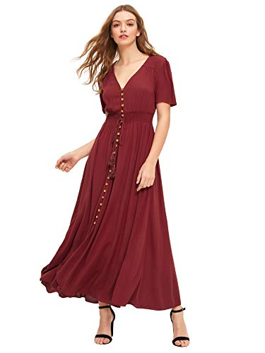 - Milumia Women's Button Up Split Floral Print Flowy Party Maxi Dress Large Burgundy