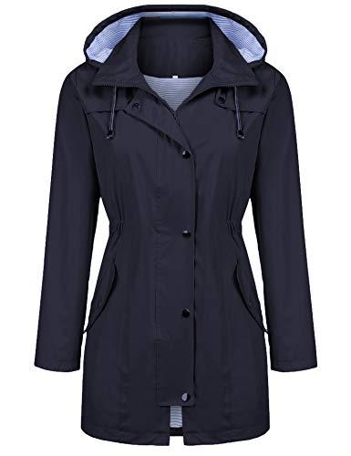 Kikibell Rain Jacket Women Striped Lined Hooded Lightweight Raincoat Outdoor Waterproof Windbreaker (Dark Navy Blue, S)
