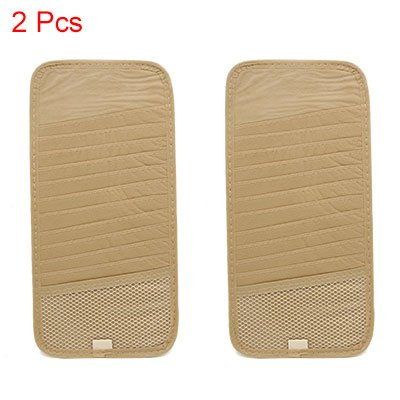 uxcell 2pcs Beige Car Sun Visor CD DVD Case Storage Holder 12 Disk Card Organizer by uxcell