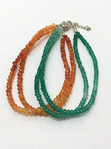 Green Onyx and Carnelian Shaded Micro Faceted Rondelle Beaded Bracelet, 3mm to 3.5mm, Green and Orange Beads, Gemstone, Semiprecious Beads by Gemswholesale ()
