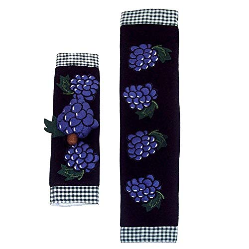 - Kitchen Appliance Handle Covers with Grape Design, Stove Handle Covers, Refrigerator Handle Covers Wrap Around - Kitchen Gift, Kitchen Decor Set of 2 Pieces.