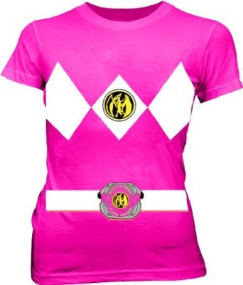 Power Rangers Pink Costume Juniors Fuschia T-shirt Tee (Large)]()